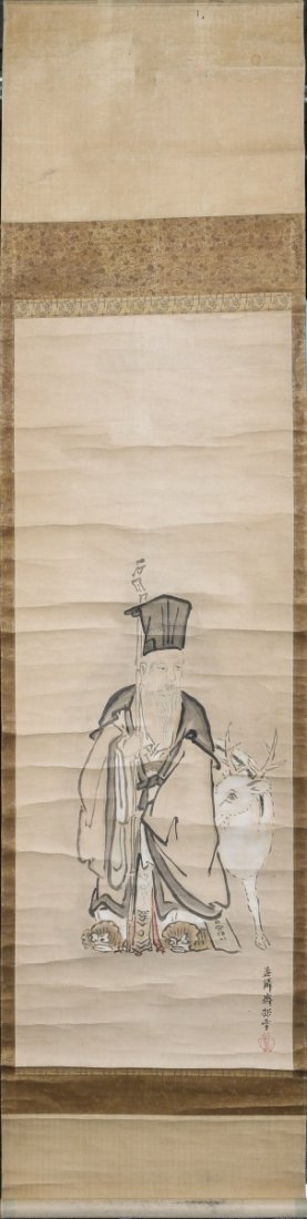 CHINESE CALLIGRAPHY SCROLL OLD MAN WITH GOAT