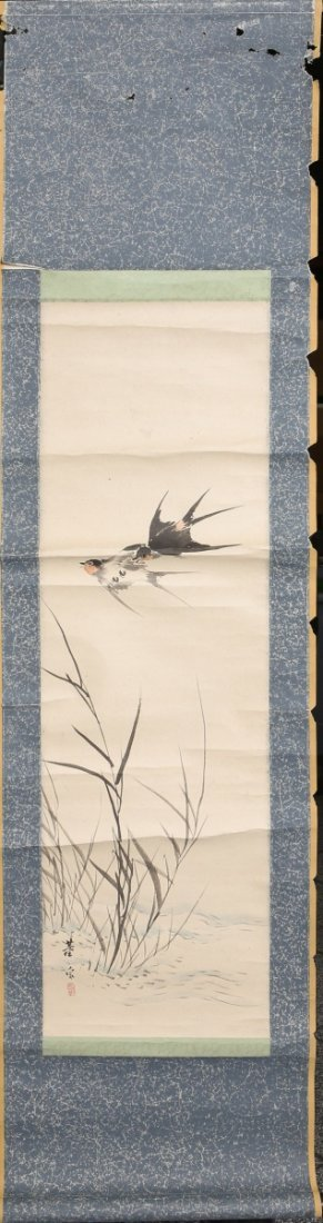 CHINESE CALLIGRAPHY SCROLL TWO BIRDS WITH BAMBOO