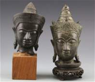 2 BRONZE BUDDHA HEADS WITH STANDS