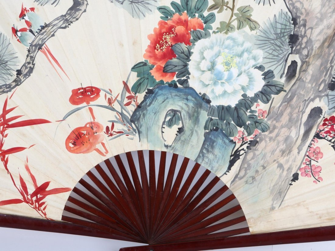 LARGE JAPANESE HAND PAINTED LACQUERED WALL FAN - 2