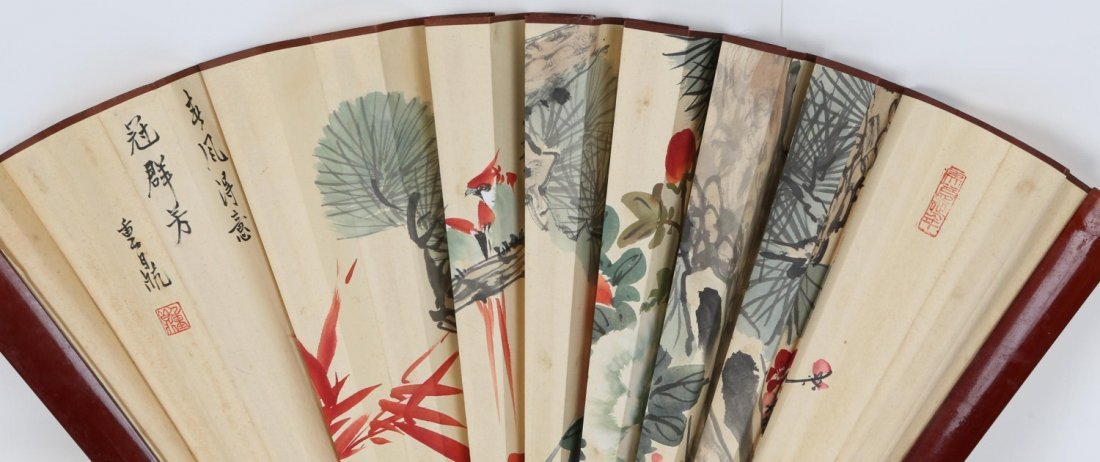LARGE JAPANESE HAND PAINTED LACQUERED WALL FAN - 4