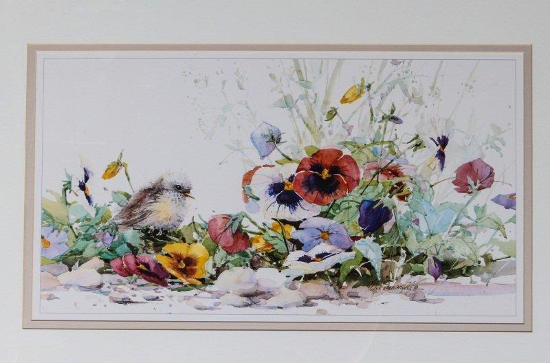 (2) MARILYN SIMANDLE PRINTS BIRDS & FLOWERS FRAMED - 2