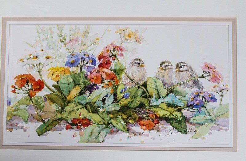 (2) MARILYN SIMANDLE PRINTS BIRDS & FLOWERS FRAMED - 3