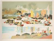 DONG KINGMAN HONG KONG BAY SIGNED LITHO AP 1970