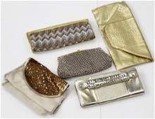 5 GOLD COLOR CLUTCH PURSES