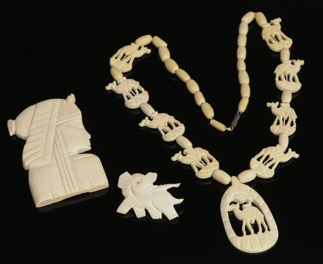 ANTIQUE IVORY CAMEL NECKLACE W/ ELEPHANT PIN