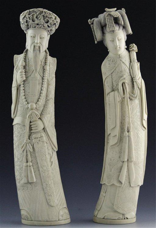 Antique Chinese Carved Ivory Emperor Empress Jul 31 2014