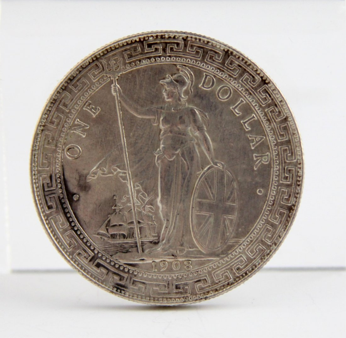 BRITISH TRADE 1908 B MINT SILVER DOLLAR