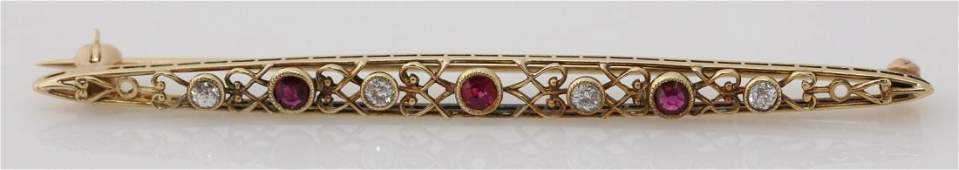 LADIES 14K YELLOW GOLD DIAMOND AND RUBY BROOCH