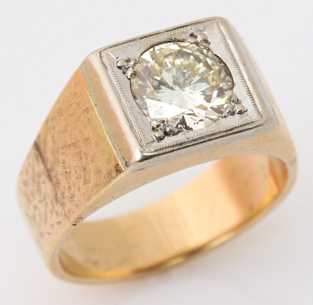 MENS 14K YELLOW GOLD DIAMOND RING