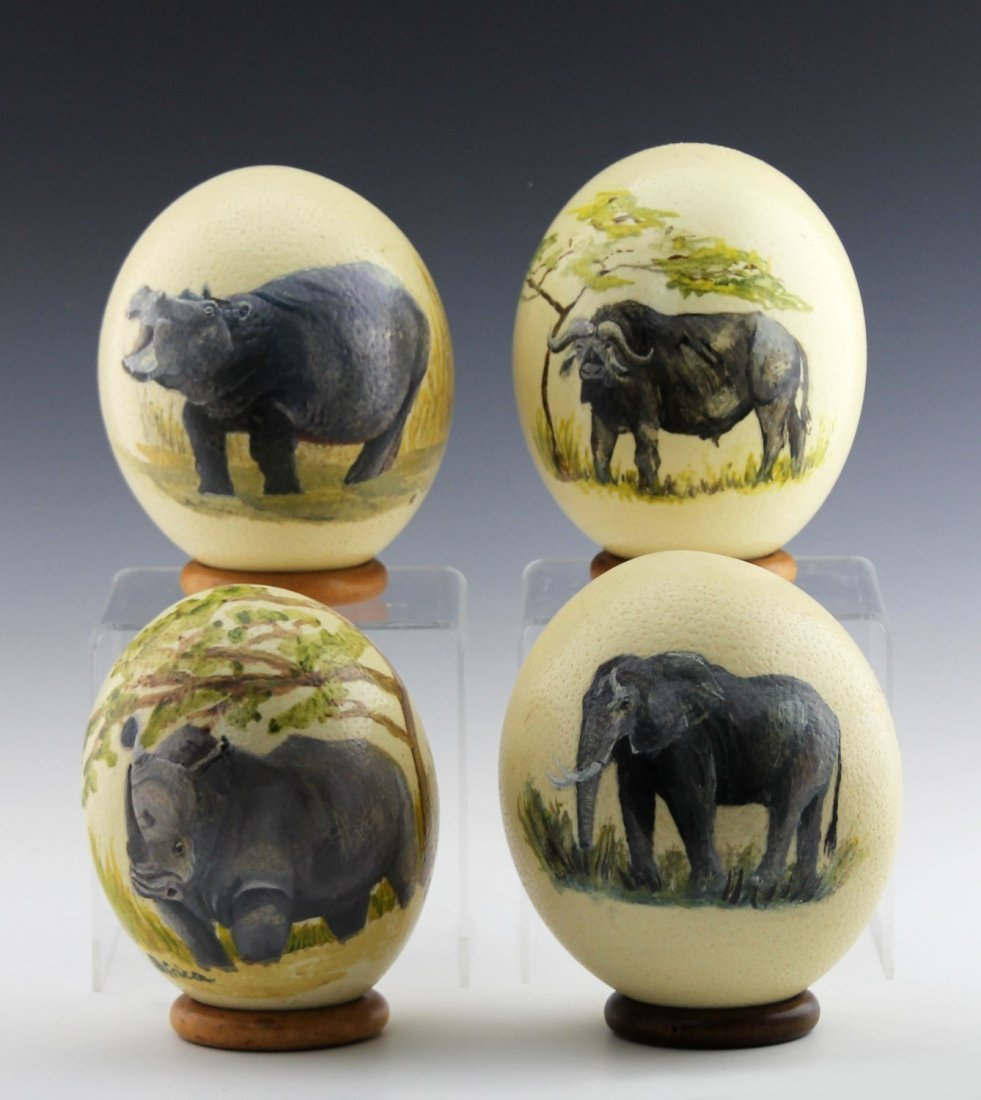 (4) AFRICAN HAND-PAINTED OSTRICH EGG SHELLS