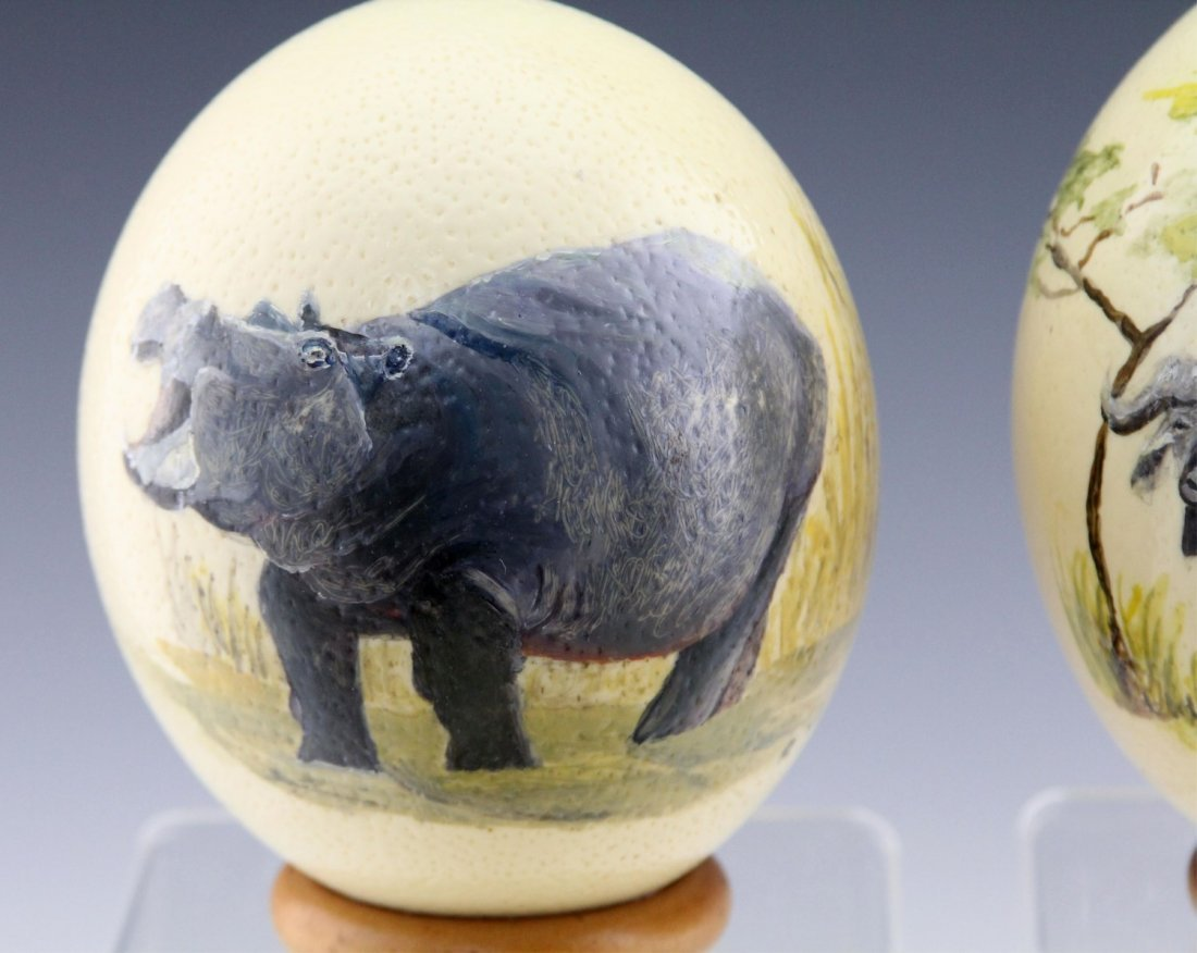 (4) AFRICAN HAND-PAINTED OSTRICH EGG SHELLS - 2