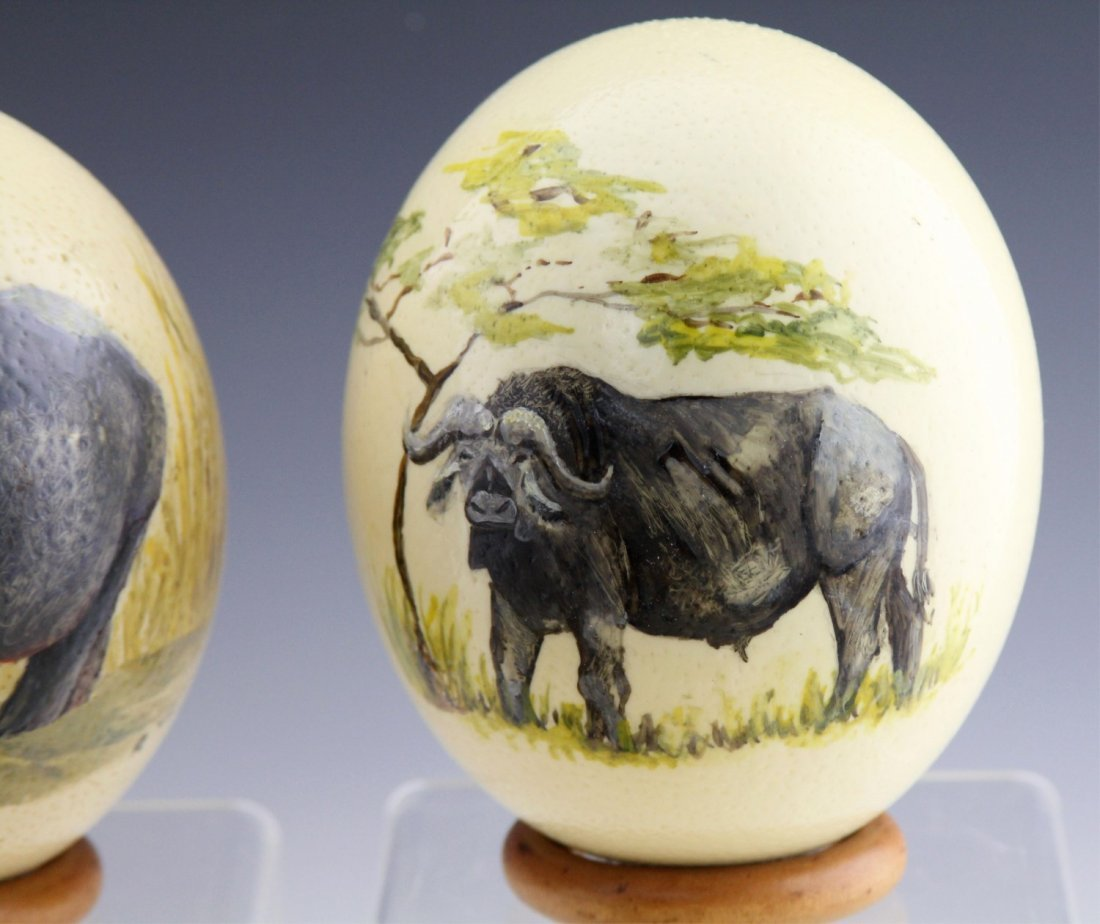 (4) AFRICAN HAND-PAINTED OSTRICH EGG SHELLS - 3