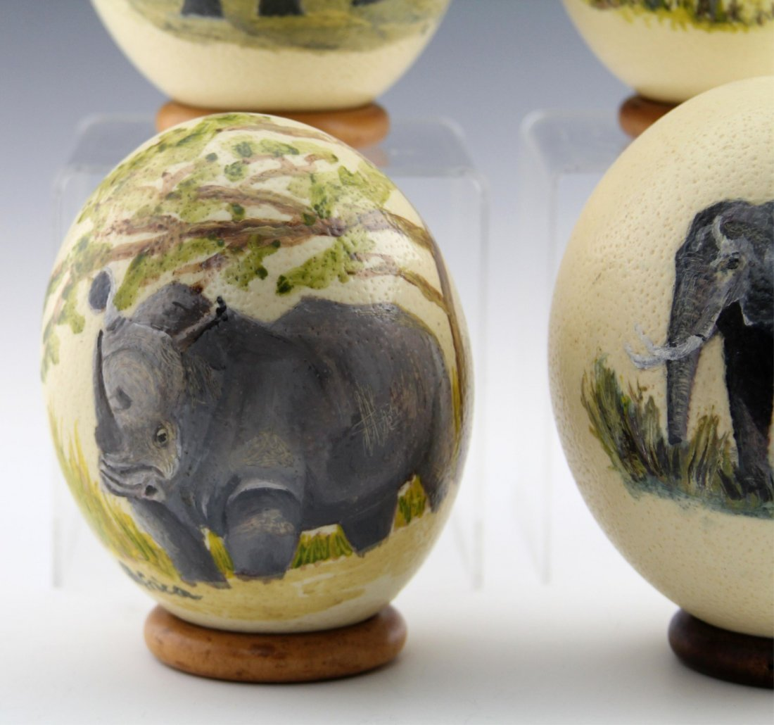 (4) AFRICAN HAND-PAINTED OSTRICH EGG SHELLS - 4