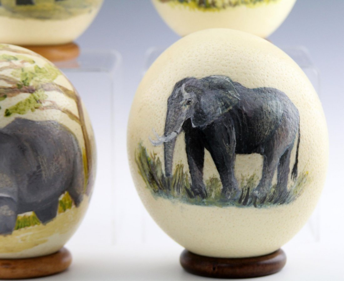 (4) AFRICAN HAND-PAINTED OSTRICH EGG SHELLS - 5
