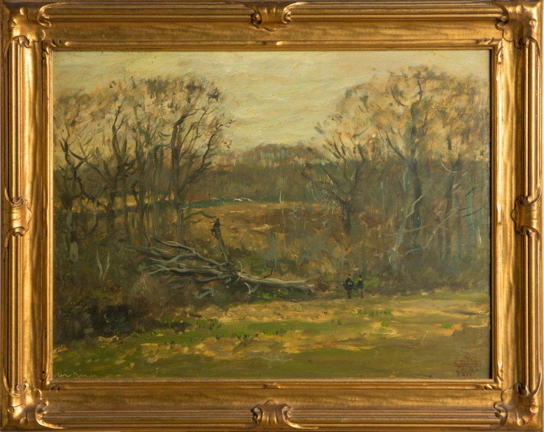 HENRY WARD RANGER LANDSCAPE ON BOARD 19TH CENTURY