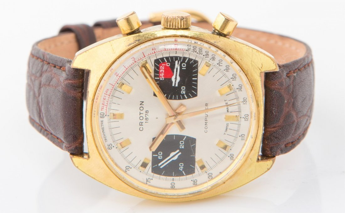 MENS VINTAGE CROTON COMPUTER CHRONOGRAPH WATCH