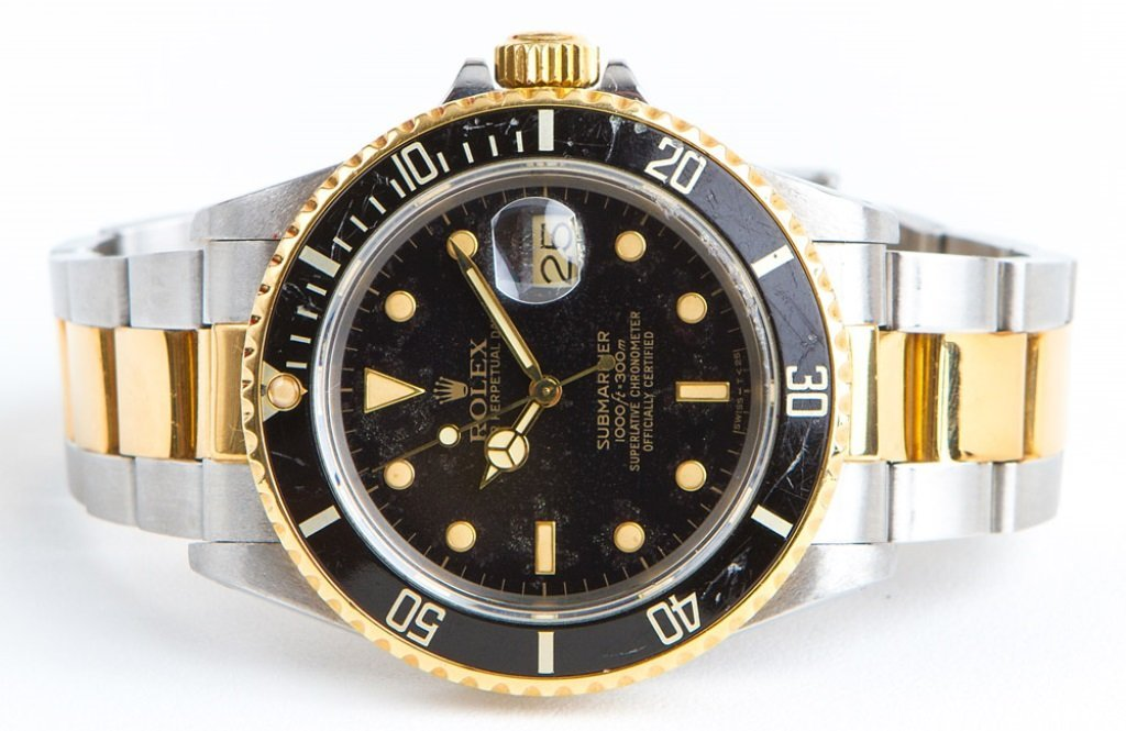MENS ROLEX OYSTER 18K & STAINLESS TWO TONE SUB