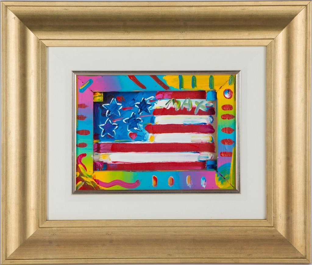 PETER MAX FLAG WITH HEART VII #13 ACRYLIC FRAMED