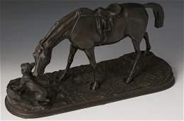 BRONZE CASTING AFTER PJ MENE DOG  MARE CIRCA 1880