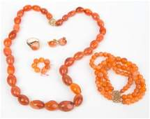 (5) RED ORANGE AGATE & MOSTLY 14K GOLD JEWELRY LOT