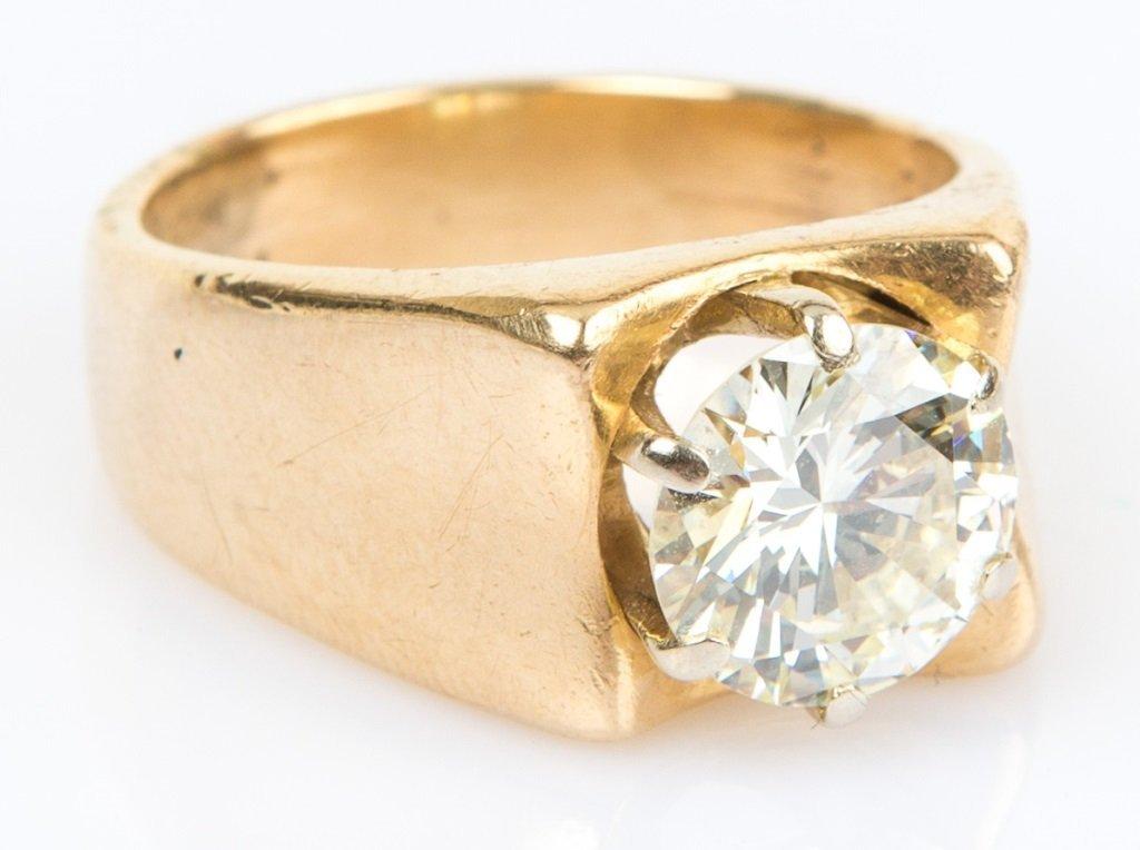 MENS 3CT BRILLIANT ROUND SOLITAIRE DIAMOND RING