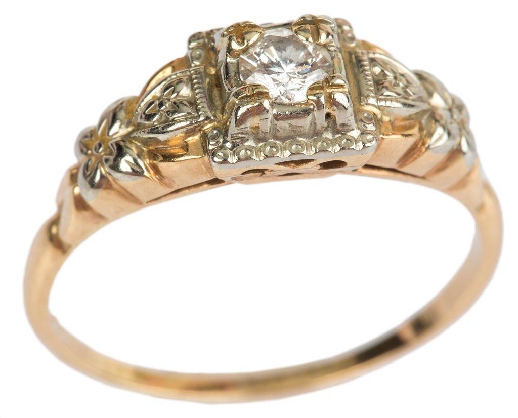 LADIES ANTIQUE 14K GOLD DIAMOND RING