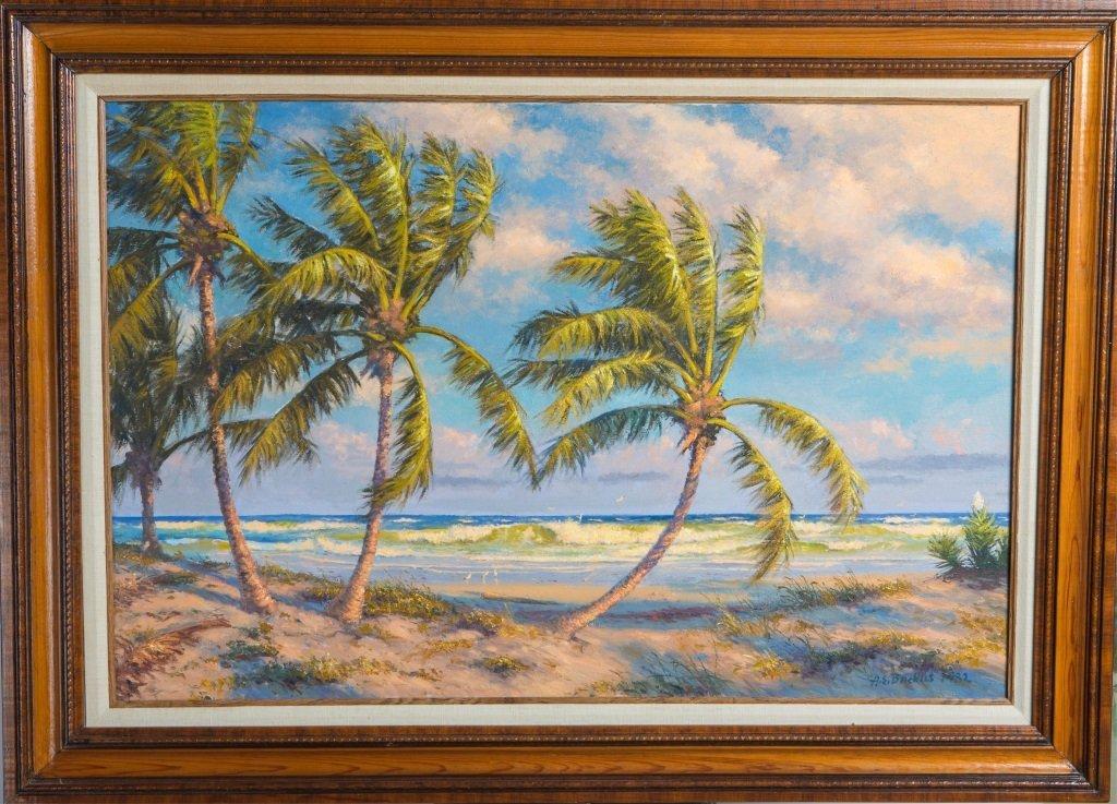 ALBERT BACKUS OIL ON CANVAS FLORIDA LANDSCAPE