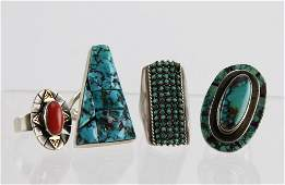 (4) NAVAJO STERLING SILVER TURQUOISE & CORAL RINGS