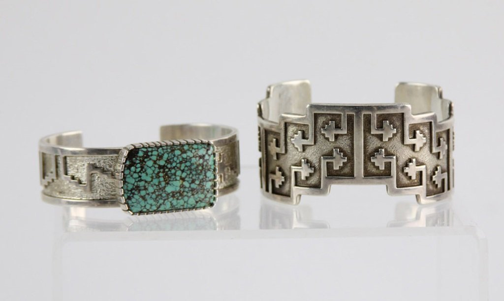 (2) NAVAJO STERLING SILVER TURQUOISE CUFFS TSO