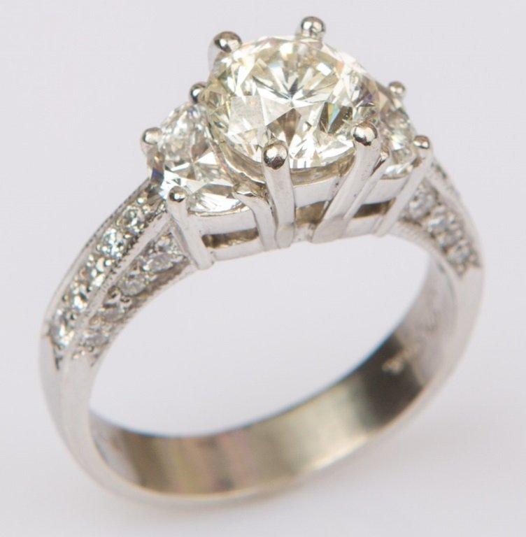 2.00 CARAT PLATINUM DIAMOND RING WITH HALF MOONS