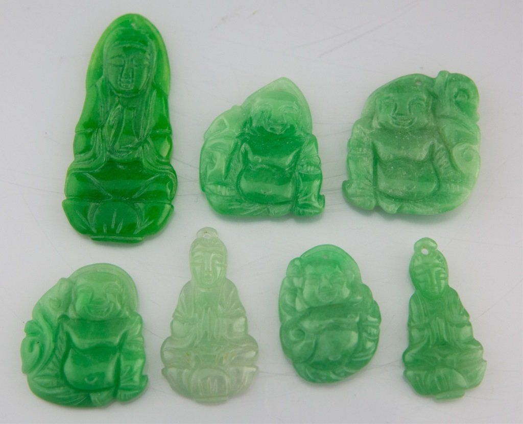 (7) CHINESE CARVED DYED JADE PENDANTS