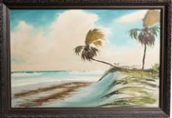 AL HAIR FLORIDA HIGHWAYMEN BEACH OIL ON CANVAS