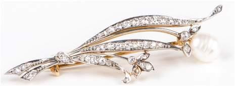 LADIES 14K PEARL  DIAMOND BROOCH