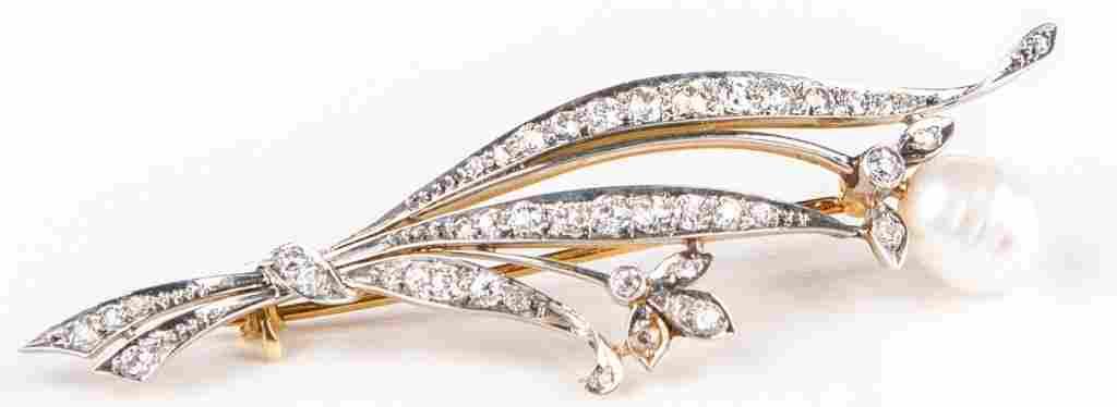 LADIES 14K PEARL & DIAMOND BROOCH
