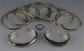 MIXED LOT NAVAJO STERLING SILVER BRACELETS  RING