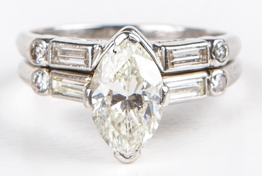 LADIES PLATINUM & MARQUISE DIAMOND WEDDING SET