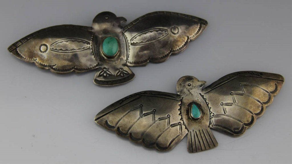 (2) NAVAJO STERLING SILVER & TURQUOISE BROOCHES