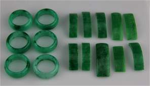 (16) CHINESE CARVED DYED JADE RINGS & SEGMENTS