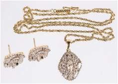LADIES 14K YELLOW GOLD DIAMOND CLUSTER SET