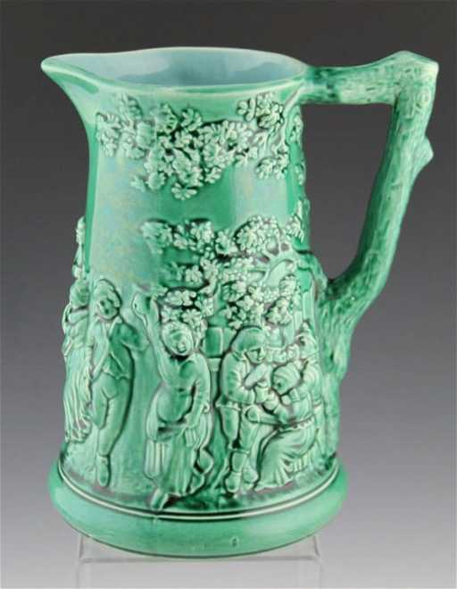 FRENCH SARREGUEMINES MAJOLICA POTTERY BEER PITCHER
