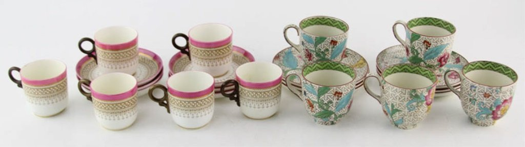 TWO SETS OF ENGLISH PORCELAIN TEA CUPS & SAUCERS