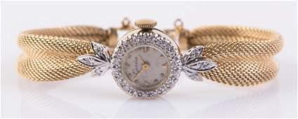 LADIES 14K & DIAMOND GENEVE WRIST WATCH