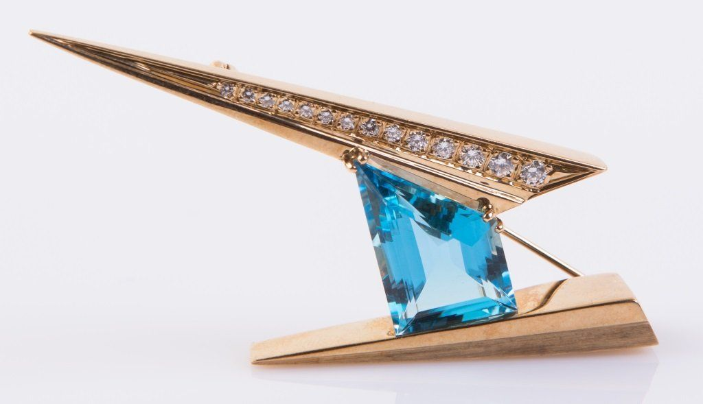 LADIES 14K BLUE TOPAZ AND DIAMOND BROOCH