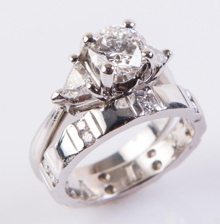 LADIES PLATINUM & 1.06 CT DIAMOND RING & BAND