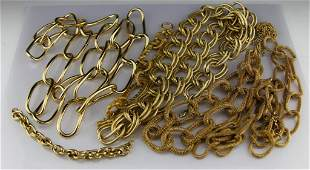 (9) GOLD TONE CHAIN STYLE COSTUME JEWELRY