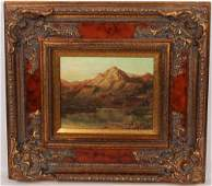A LADEL OIL ON CANVAS MOUNTAIN LANDSCAPE PAINTING