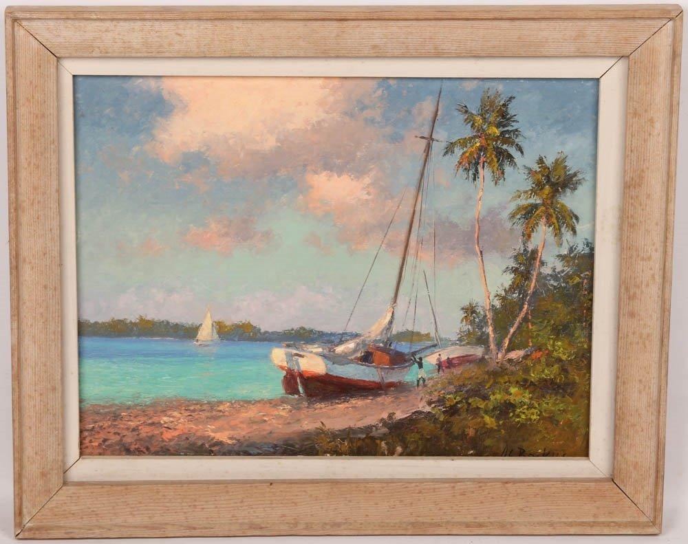 ALBERT BACKUS SAILBOAT JAMAICAN BEACH OIL ON BOARD
