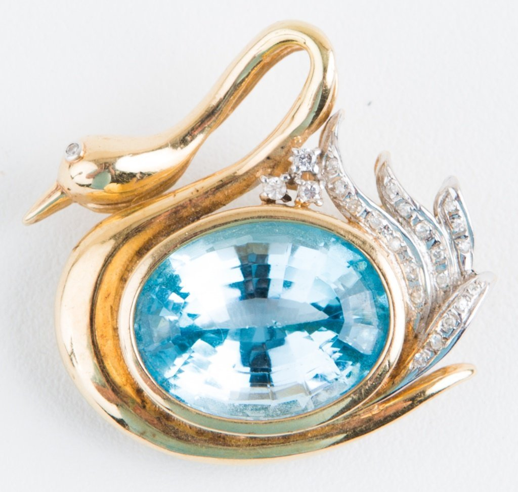 LADIES 14K YELLOW GOLD SWAN BLUE TOPAZ BROOCH