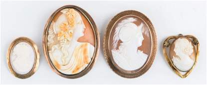 LOT OF LADIES GOLD FILLED CAMEO BROOCH PENDANTS